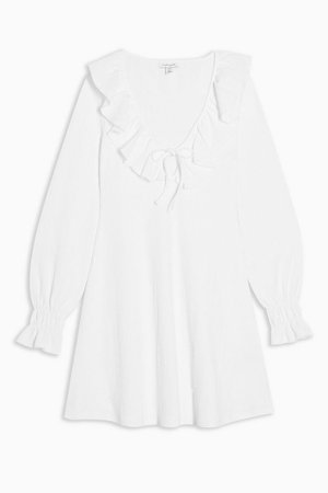 White Crinkle Ruffle Mini Dress | Topshop