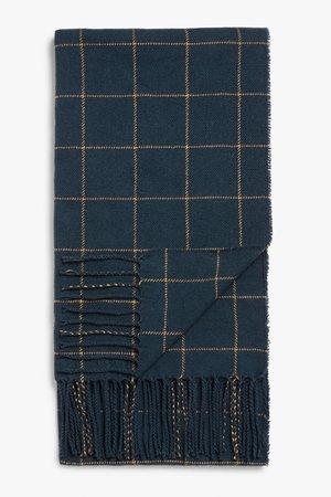 Raw hem tassel scarf - Blue and yellow check - Scarves - Monki