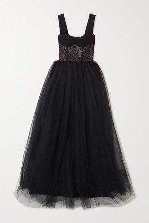 Crepe, Lace And Tulle Gown - Black