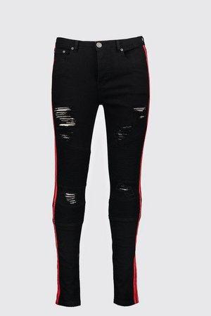 Super Skinny Biker Jean With Red Side Tape   Boohoo