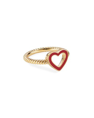 David Yurman Cable Collectibles 18k Gold Heart Ring in Red