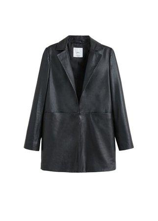 MANGO Beaded leather jacket