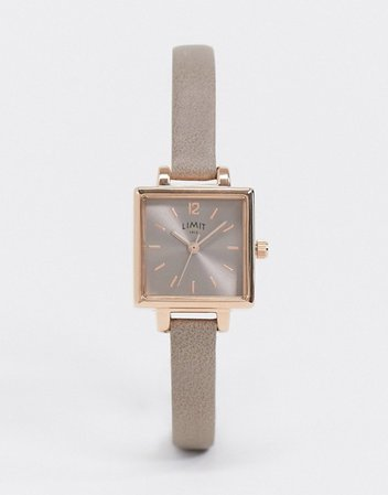 Limit square dial faux leather watch in tan | ASOS