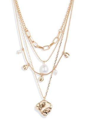 Halogen® Imitation Pearl & Metal Droplet Layered Necklace | Nordstrom