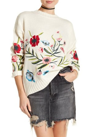 Romeo & Juliet Couture | Floral Embroidered Ribbed Sweater | Nordstrom Rack