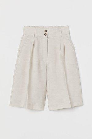 Wide-leg Bermuda Shorts - Beige
