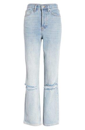 Topshop Kort Bleach Rip Straight Leg Jeans | Nordstrom