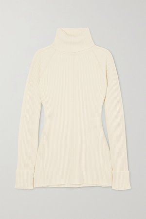 White Ribbed wool and silk-blend turtleneck sweater | Chloé | NET-A-PORTER