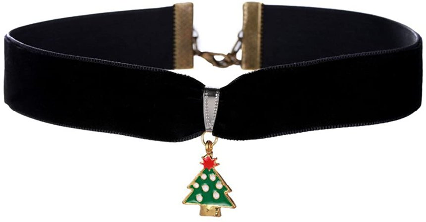 Amazon.com: Joyplancraft Christmas Choker Necklace Cute Christmas Tree with Rope Necklace (Style 1): Jewelry