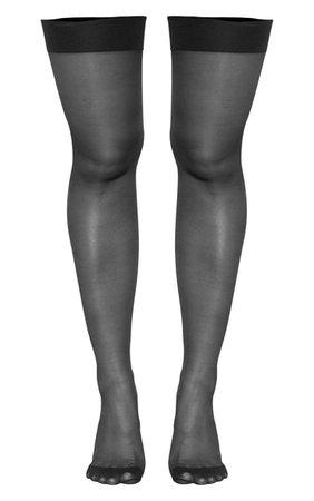 Black Glitter Seam Sheer Hold Up Stockings | PrettyLittleThing USA