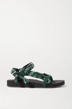 Army green Trekky printed gauze-trimmed canvas platform sandals | Arizona Love | NET-A-PORTER