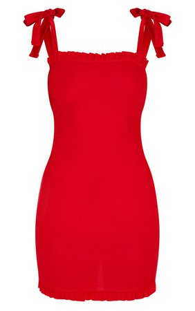 Red Tie Shoulder Frill Detail Bodycon Dress   PrettyLittleThing