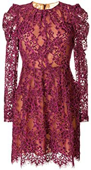 Michael Kors Scalloped Corded Floral Lace Dress, Merlot (00): Clothing