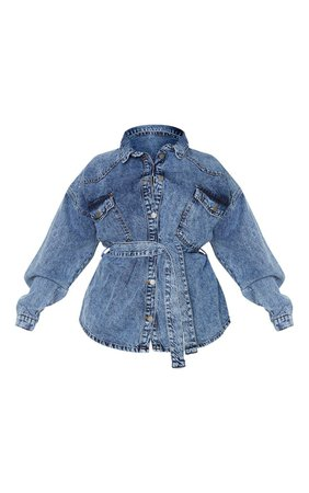 Plus Mid Blue Acid Wash Belted Denim Jacket   PrettyLittleThing