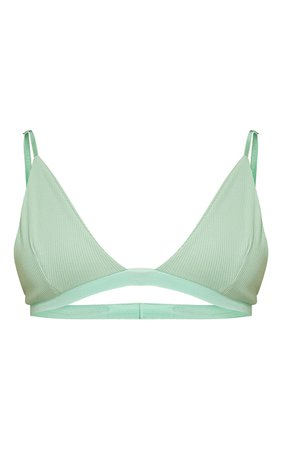 Mint Ribbed Plunge Bralet | Co-Ords | PrettyLittleThing USA