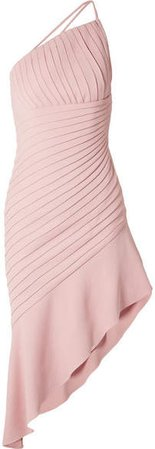 Brandon Maxwell - Asymmetric Pleated Stretch-crepe Mini Dress - Pink