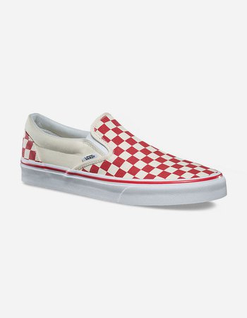 VANS Primary Check Slip-On Red & White Shoes - REDWH - 302762927   Tillys