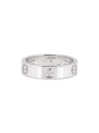 Shop silver Cartier pre-owned 18kt white gold Love half-diamond ring with Express Delivery - Farfetch