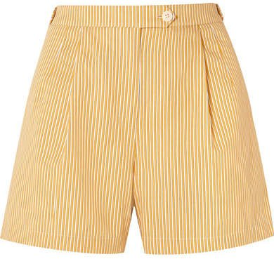 Striped Cotton Shorts - Pastel yellow