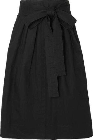 Belted Denim Midi Skirt - Black