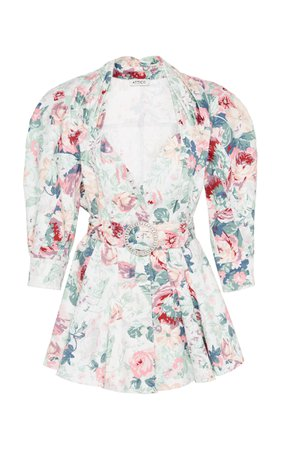 Belted Floral-Print Cotton-Gabardine Mini Dress by Attico   Moda Operandi