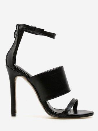 high heels black sandals