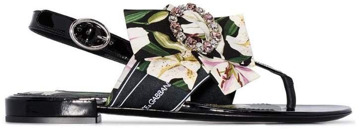 floral-ribbon flat sandals
