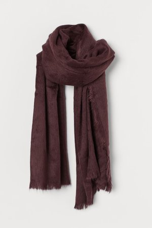 Fluffy Scarf - Dark plum purple - Ladies | H&M US