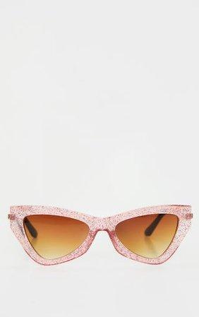 Pink Cat Eye Glitter Sunglasses | Accessories | PrettyLittleThing