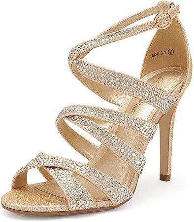 DREAM PAIRS Women's Gold Glitter Open Toe Ankle Strap High Stiletto Dress Pump Heel Sandals