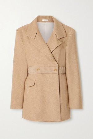 Net Sustain Convertible Double-breasted Twill Blazer - Sand