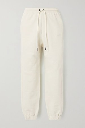 Off-white Cotton-jersey track pants | Reebok X Victoria Beckham | NET-A-PORTER
