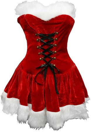 Amazon.com: Bslingerie Red Santa Mrs. Claus Women Full Costume Outfit (M, Red): Clothing