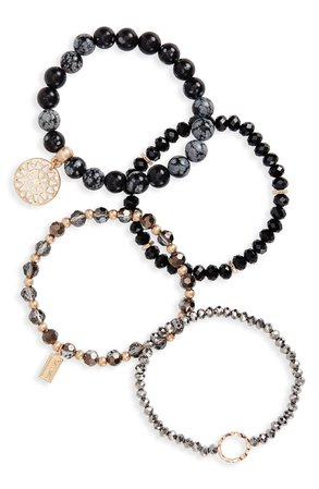 Canvas Jewelry 4-Pack Semiprecious Stone Stacking Bracelets | Nordstrom