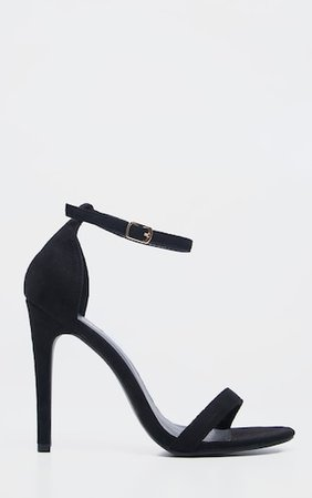 Clover Black Strap Heeled Sandals | PrettyLittleThing