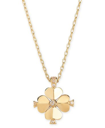 """kate spade new york Gold-Tone Crystal Flower 19"""" Pendant Necklace & Reviews - Necklaces - Jewelry & Watches - Macy's"""