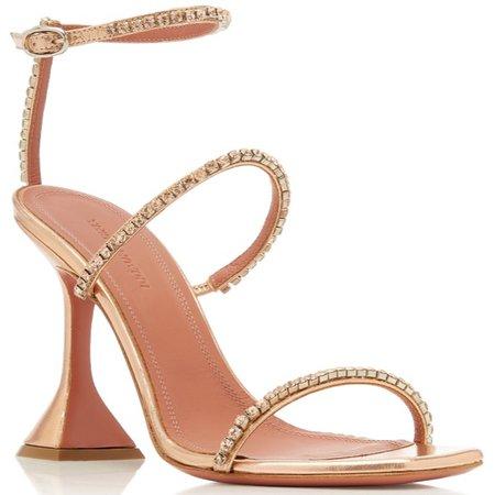 Amina Muaddi Gilda Metallic Leather Sandals