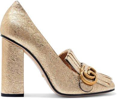 Marmont Fringed Logo-embellished Metallic Cracked-leather Pumps - Gold