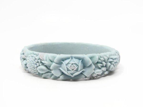 Vintage Flower Ceramic Celluloid Style Bangle | Etsy