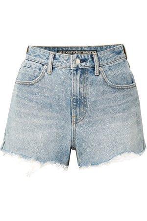 Alexander Wang   Bite frayed denim shorts   NET-A-PORTER.COM