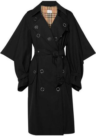 Cotton-gabardine Trench Coat - Black