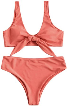 Amazon.com: ZAFUL Womens Solid Color Strap Padded Front Knot Bikini Set: Clothing