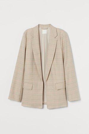 Long jacket - Beige/Orange checked - Ladies | H&M GB