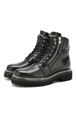 Женские черные кожаные ботинки army BALMAIN — купить за 99500 руб. в интернет-магазине ЦУМ, арт. SN1C153/LG0D
