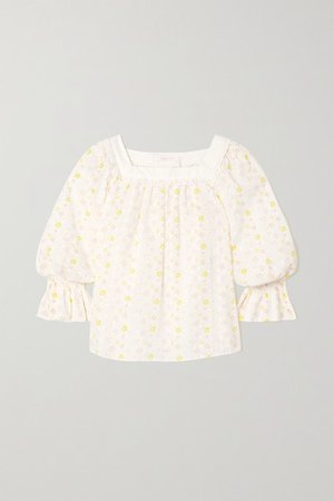 Floral-print Broderie Anglaise Cotton-voile Blouse - Ecru
