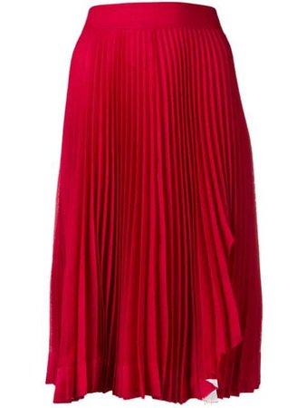 Red Calvin Klein 205W39Nyc Pleated Midi Skirt | Farfetch.com