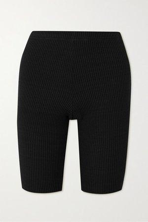 Ribbed-knit Shorts - Black