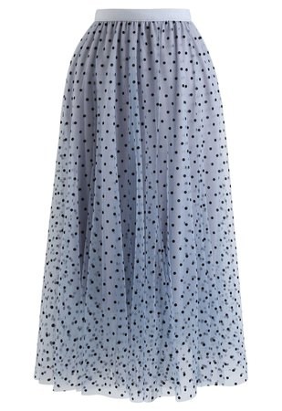 Full Polka Dots Double-Layered Mesh Tulle Skirt in Baby Blue - Retro, Indie and Unique Fashion