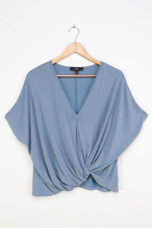 Cute Dusty Blue Top - Short Sleeve Top - Twist Front Top - Lulus