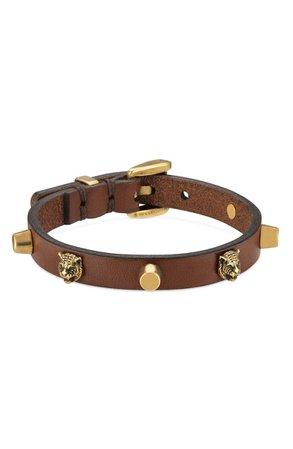 Gucci Feline Head Stud Leather Bracelet | Nordstrom